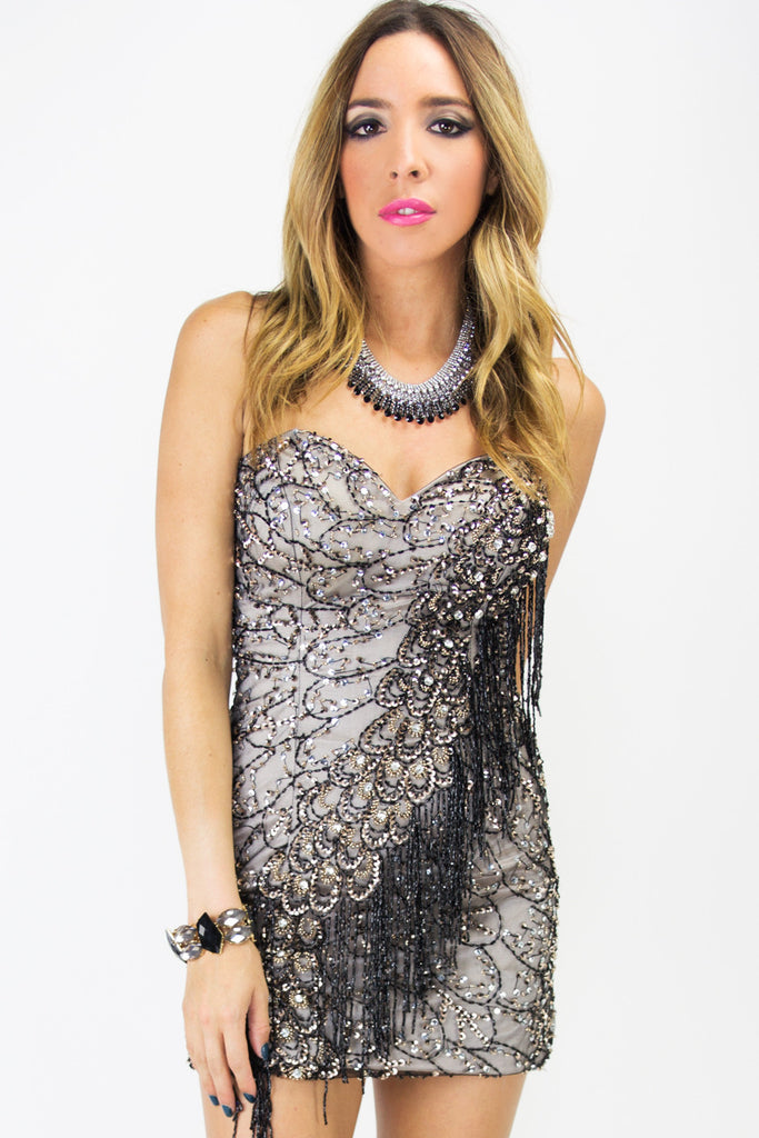 SEQUIN FRINGE DRESS - Black
