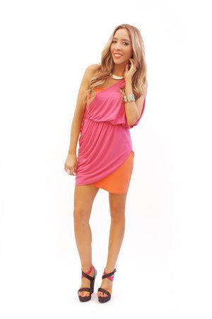 ONE SHOULDER CONTRAST COLOR DRESS - Haute & Rebellious