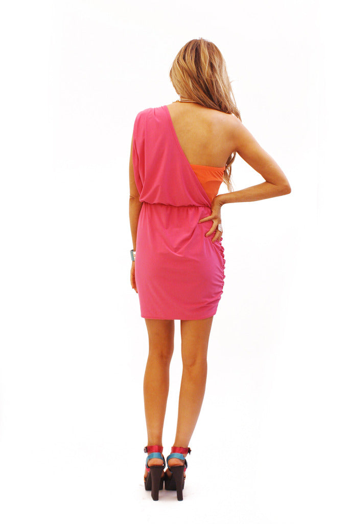 ONE SHOULDER CONTRAST COLOR DRESS