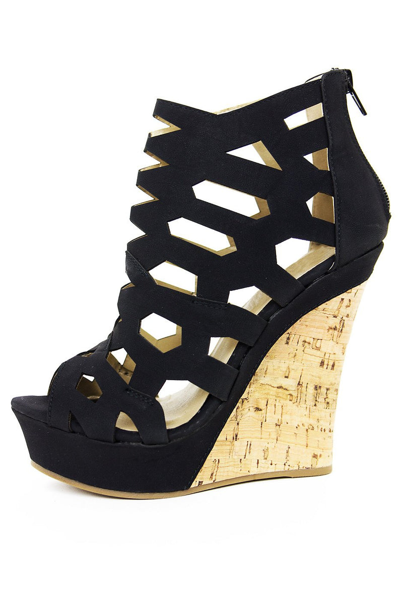 CUTOUT STRAP WEDGE - Black - Haute & Rebellious