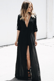 All I See Maxi with Shorts Dress - Black - Haute & Rebellious