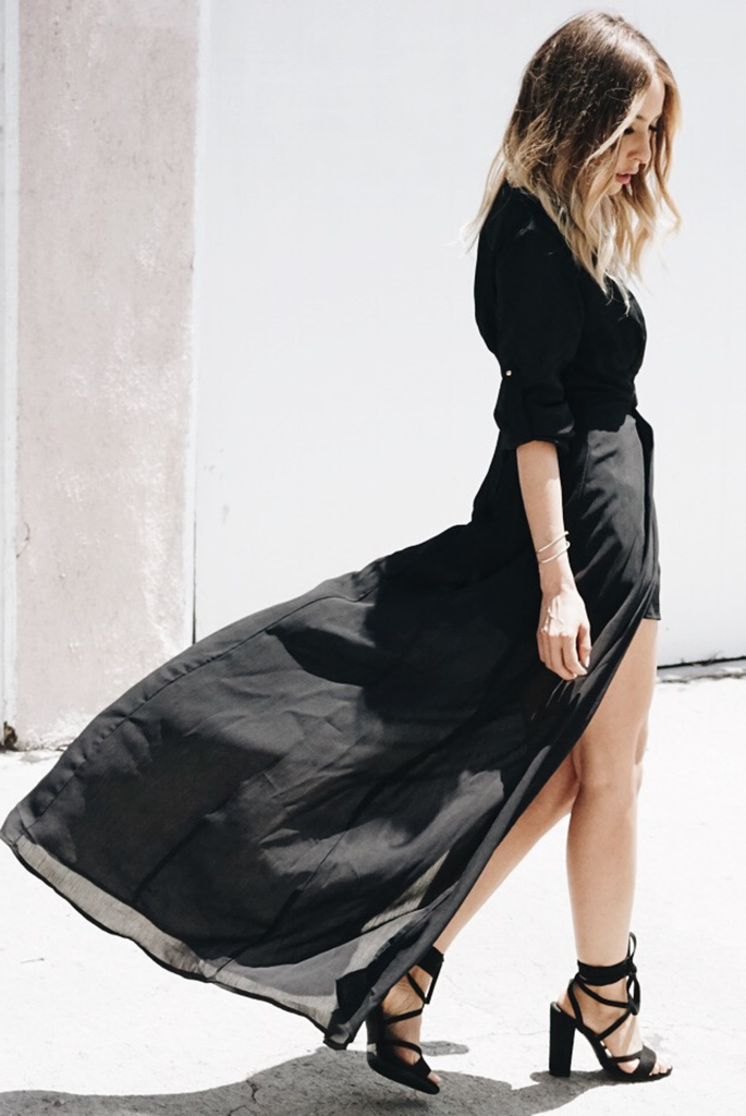 All I See Maxi with Shorts Dress - Black