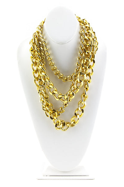 MULTI-LAYERED CHAIN NECKLACE - Gold - Haute & Rebellious
