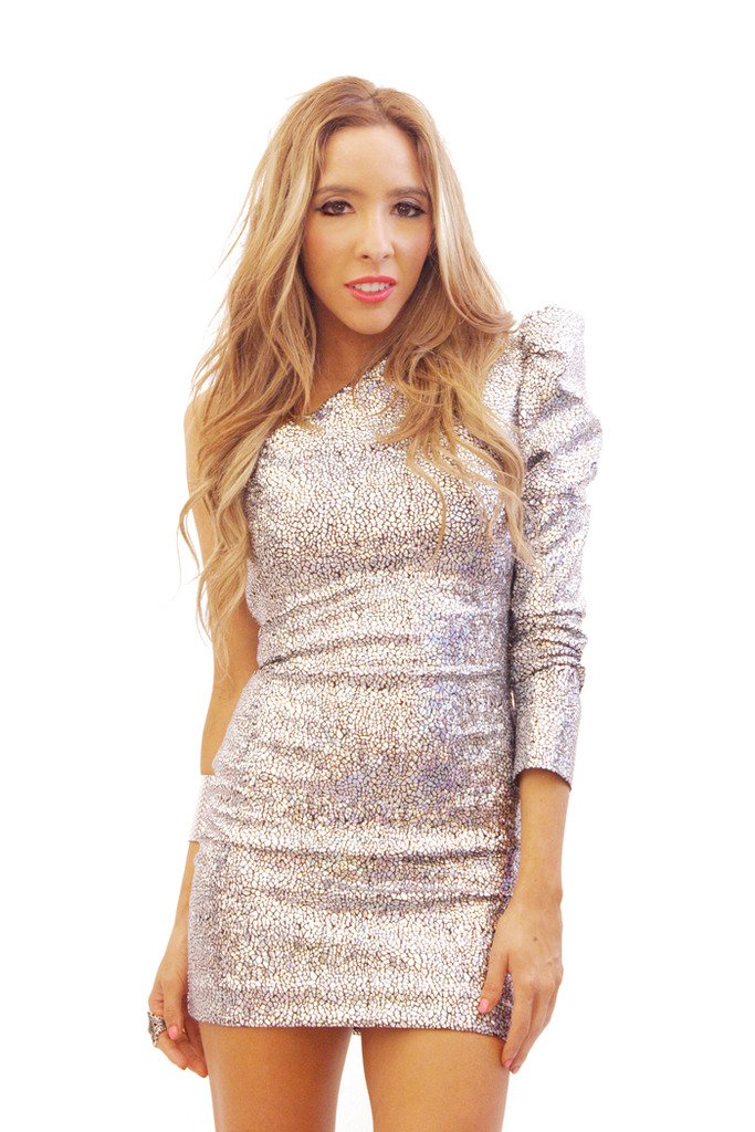 Haute & Rebellious METALLIC PUFF ONE SHOULDER SLEEVE - Exclusive Collection in [option2]
