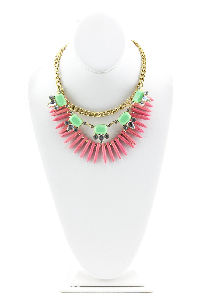 MULTI GEM SPIKE NECKLACE - Pink/Green