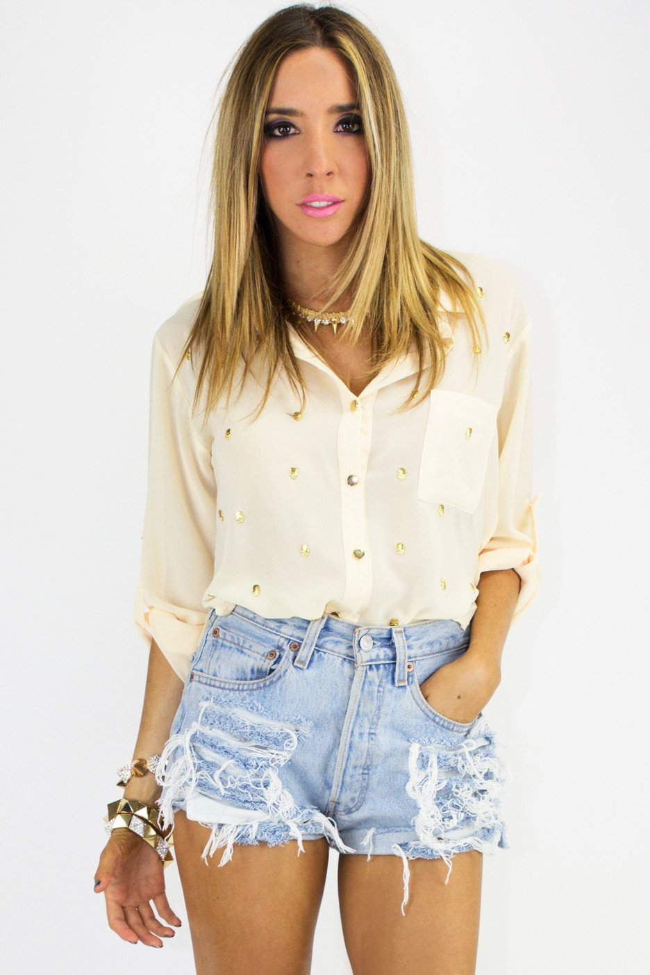 ALL OVER SKULL BLOUSE - Cream - Haute & Rebellious