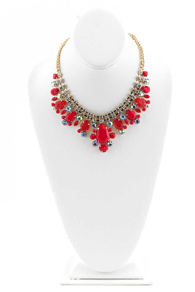 GEM STONE NECKLACE - Red