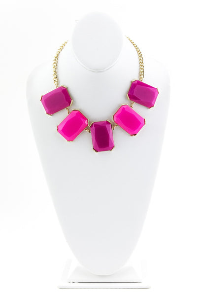 LARGE GEM STONE NECKLACE - Pink/Gold