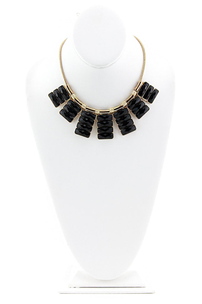 BLACK AND GOLD RADIANT STONE NECKLACE