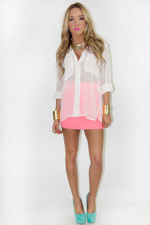 TWO POCKET CHIFFON TOP - White - Haute & Rebellious