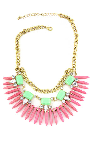 MULTI GEM SPIKE NECKLACE - Pink/Green - Haute & Rebellious