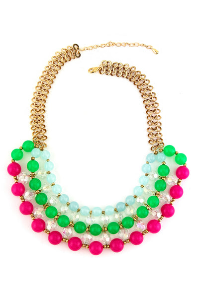 TRI LAYER COLOR GEM NECKLACE - Pink/Green/Blue