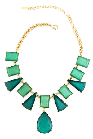 LARGE PATTERN GEM NECKLACE - Green - Haute & Rebellious