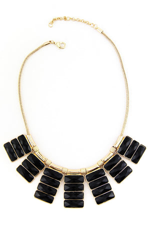 BLACK AND GOLD RADIANT STONE NECKLACE - Haute & Rebellious