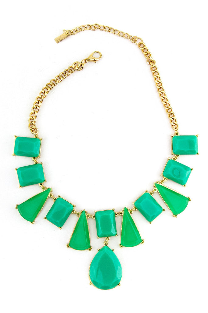 LARGE SHAPED STONE NECKLACE - Teal