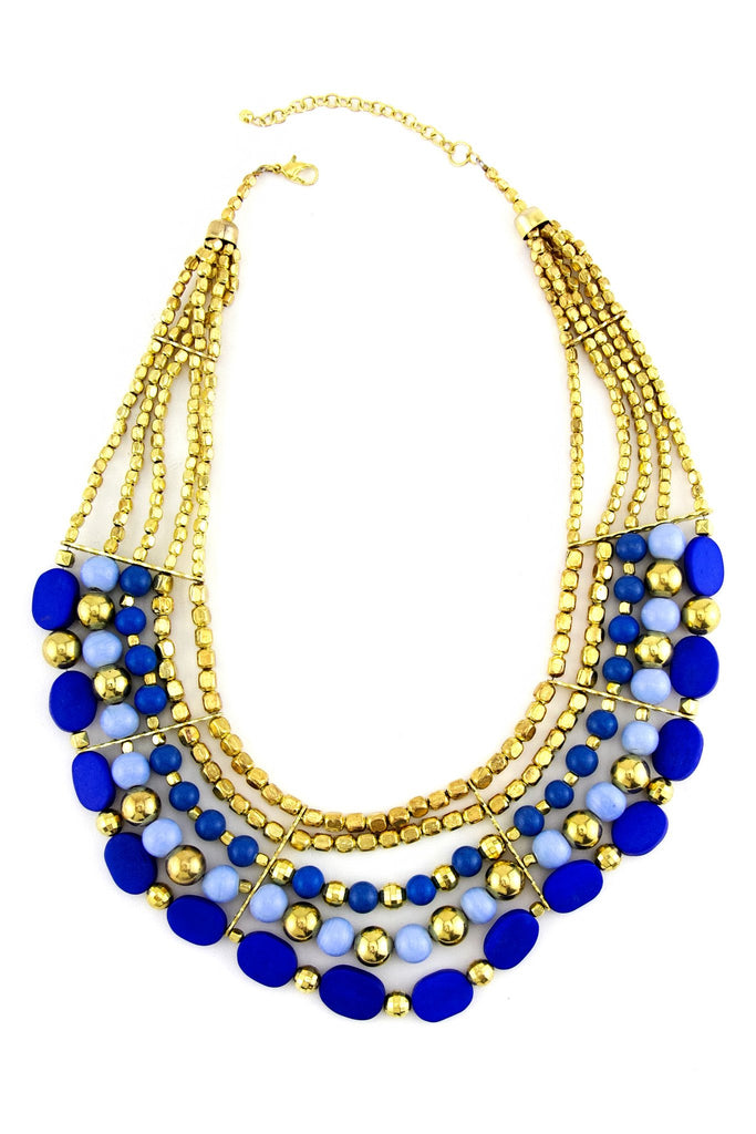MULTILAYERED STONE NECKLACE - Blue/Gold