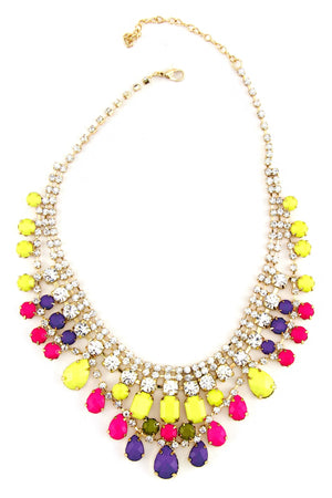 CRYSTALS & GEMS GODDESS NECKLACE - Yellow/Purple - Haute & Rebellious