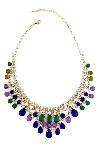 CRYSTALS & GEMS GODDESS NECKLACE - Blue/Green