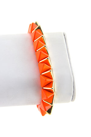 TWO TONE STUDDED BRACELET - Neon Orange/Gold - Haute & Rebellious