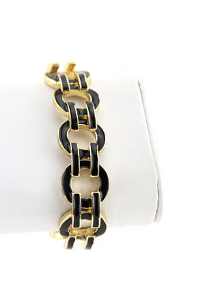 GEOMETRIC INTERLOCKING BRACELET - Black/Gold - Haute & Rebellious