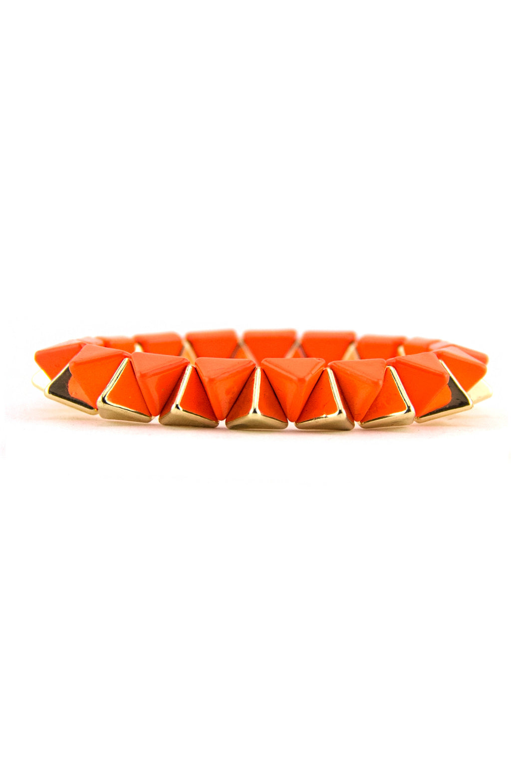 Pyramid Two-Tone Bracelet - Neon Orange (Final Sale) - Haute & Rebellious