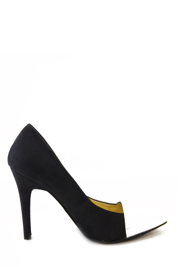 SILVER PLATED TOE PUMP - Black (Final Sale)