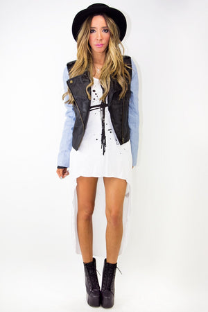 CONTRAST LEATHER JACKET - Black/Blue - Haute & Rebellious