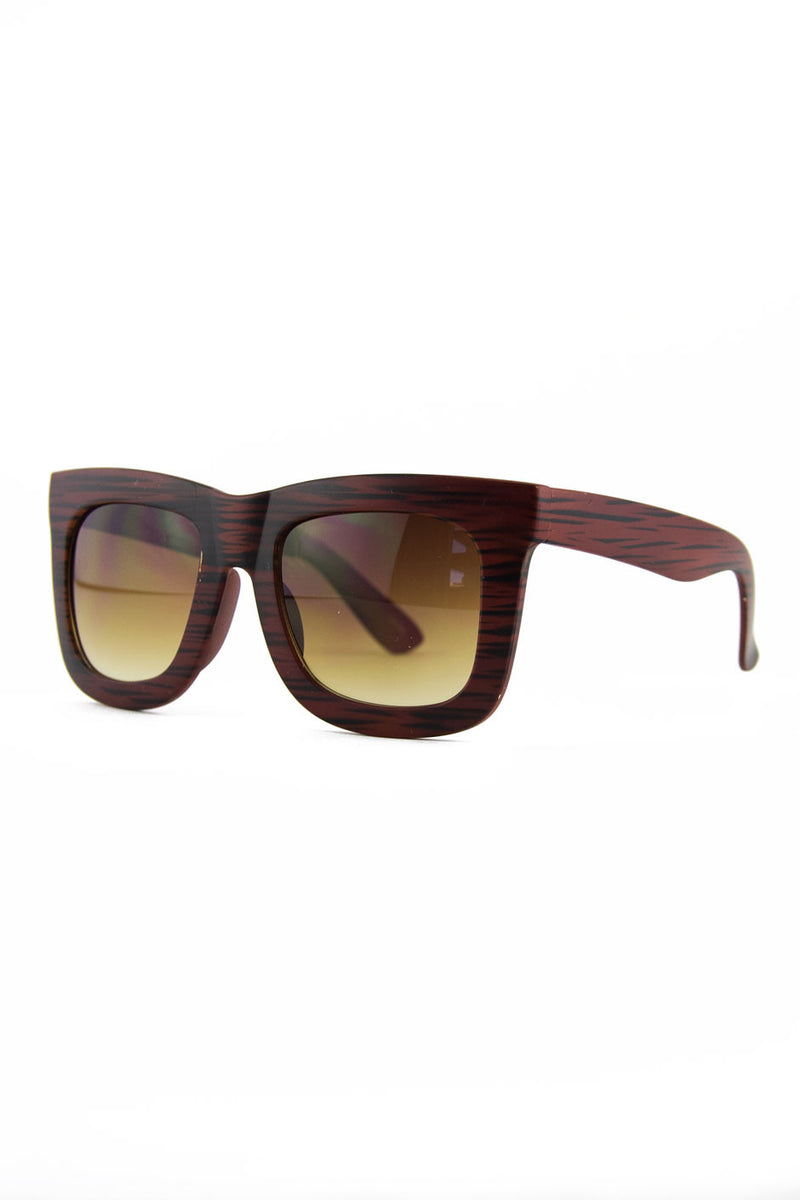 THICK FRAME SUNGLASSES - Red Wood - Haute & Rebellious
