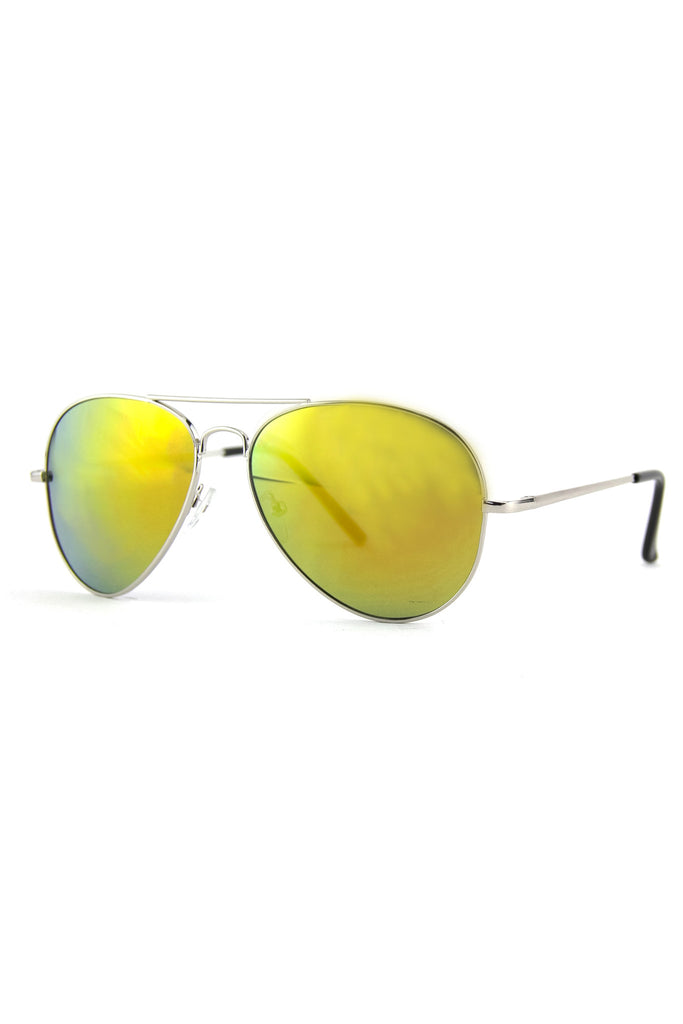 TINTED LENS AVIATOR - Silver/Green