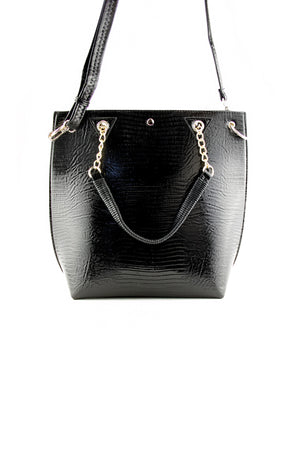 SNAKE SKIN FEEL TOTE - Black - Haute & Rebellious