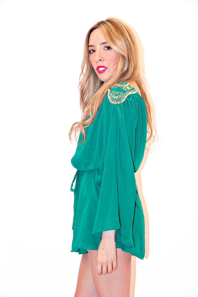 ONE SHOULDER GODDESS TUNIC - Forrest Green