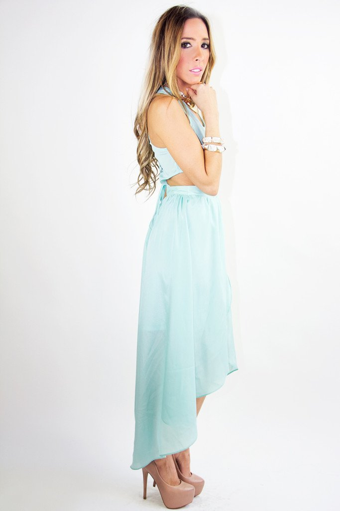 HIGH LOW CUTOUT DRESS - Mint