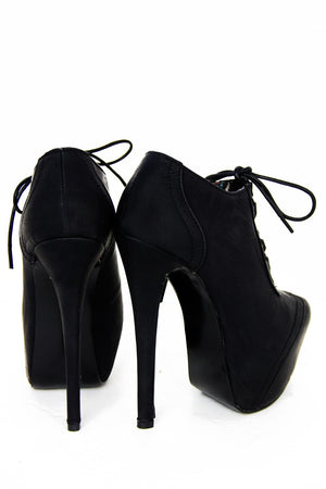 ANKLE HIGH HEEL BOOT - Black - Haute & Rebellious