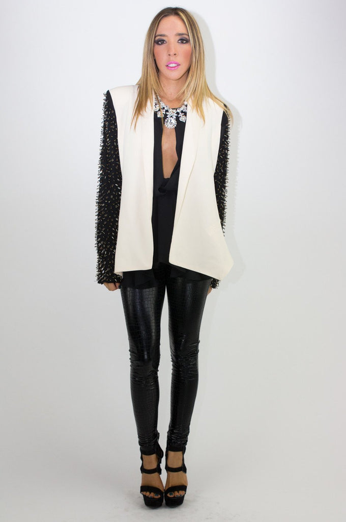 BEADED SLEEVE TWO-TONE BLAZER