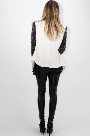 BEADED SLEEVE TWO-TONE BLAZER - Haute & Rebellious
