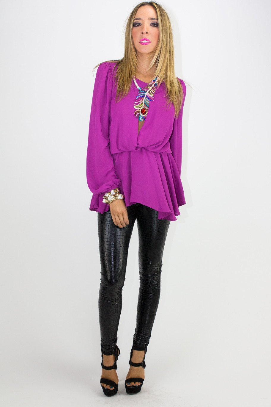 ALANA LONG SLEEVE BLOUSE - Fuchsia - Haute & Rebellious