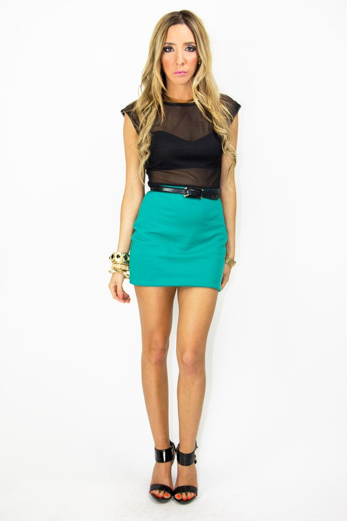 LEAH MESH DRESS - Deep Teal