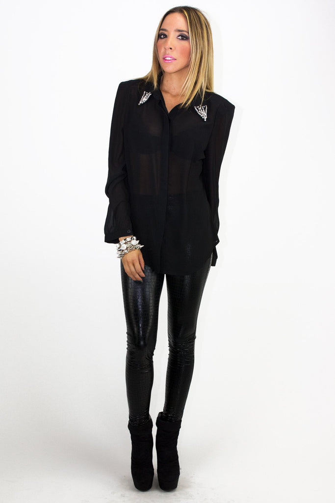 EMBELLISHED CHIFFON BLOUSE WITH SHOULDER PADS - Black (Final Sale)