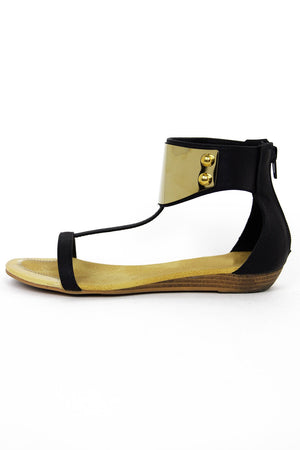 GOLD PLATED SANDAL - Black - Haute & Rebellious