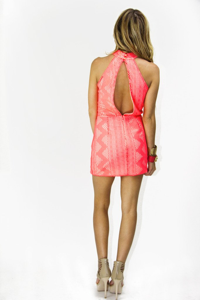 NEON LACE DRESS - Electric Peach