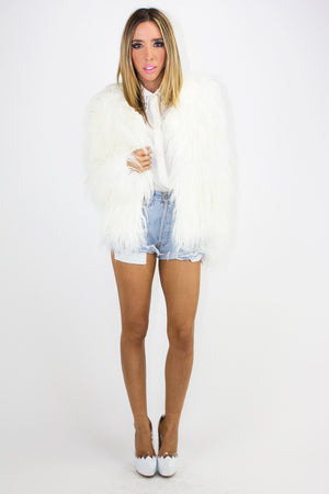 FAUX FUR COAT - Vintage White - Haute & Rebellious
