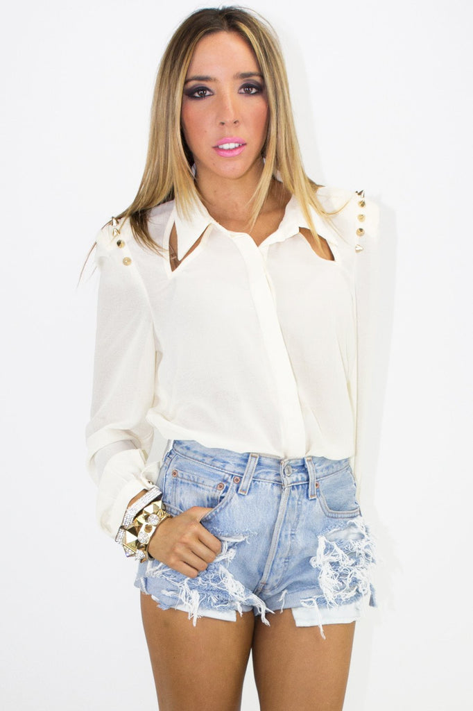 ELISA SPIKE SHOULDER CHIFFON BLOUSE (Final Sale)