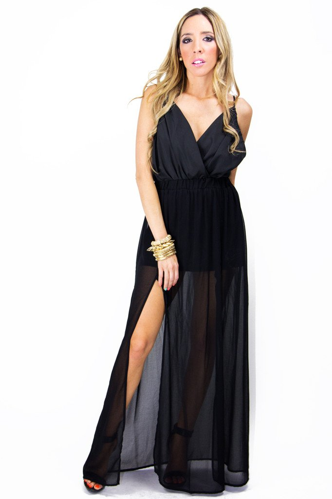 DOUBLE SLIT CHIFFON LONG SKIRT - Black
