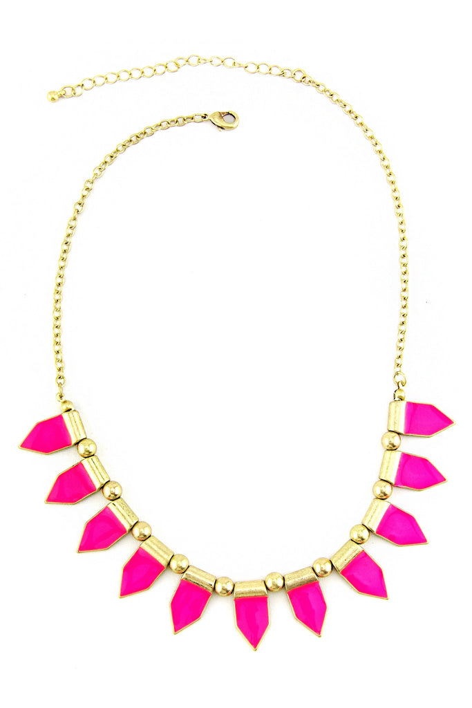 HOT PINK SPHERES NECKLACE - Hot Pink/Gold