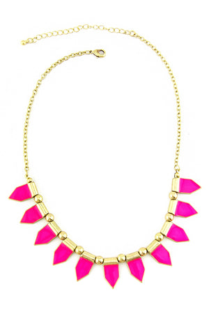 HOT PINK SPHERES NECKLACE - Hot Pink/Gold - Haute & Rebellious