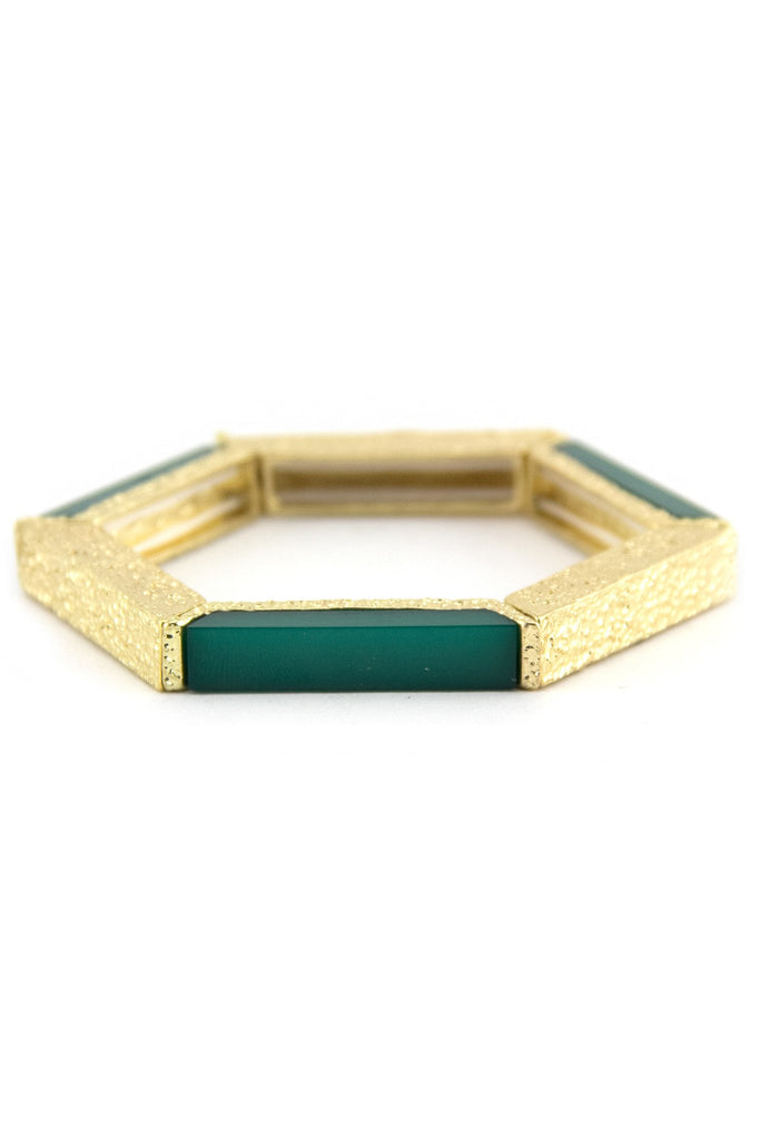 HEXAGON BRACELET - Emerald/Gold