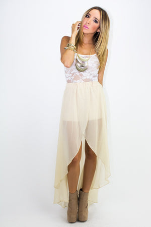 HIGH LOW CHIFFON SKIRT WITH SHORTS - Beige - Haute & Rebellious