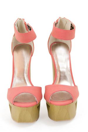 PAIGE WOOD PLATFORM - Light Coral - Haute & Rebellious