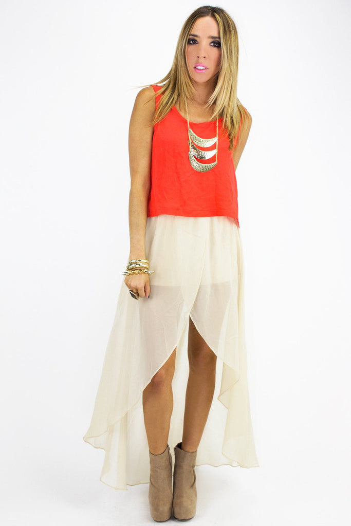 HIGH LOW CHIFFON SKIRT WITH SHORTS - Beige
