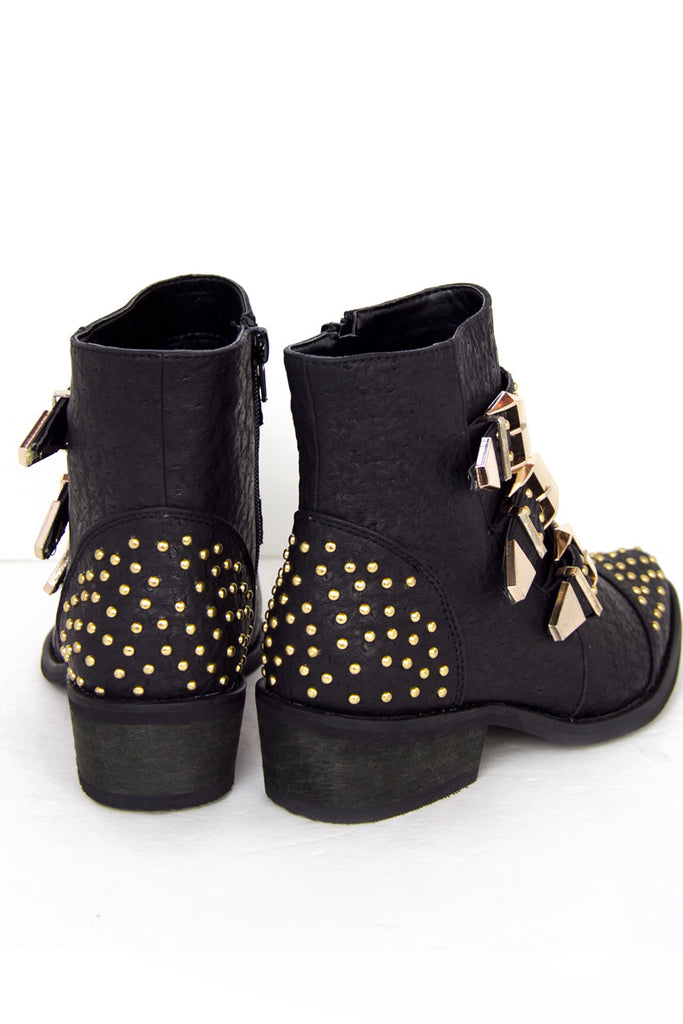 STUDDED BUCKLE ANKLE BOOTS - Black/Gold